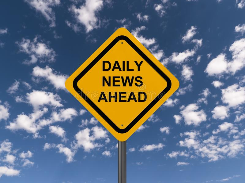 Daily news ahead. Text 'daily news ahead' in black uppercase letters on yellow highway style sign board, blue sky and white cloud background stock photos