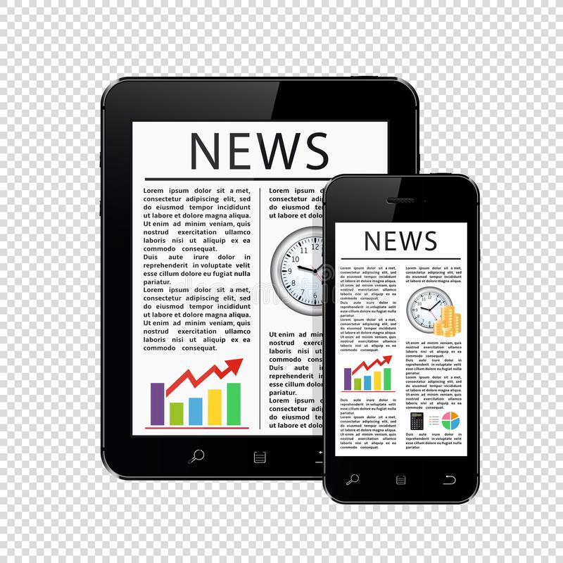 News articles on tablet pc and mobile phone isolated on transparent background. Vector illustration royalty free illustration