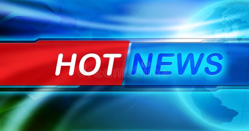 News background wallpaper. Hot news large title in the center of banner, the blue shiny background and Earth globe. royalty free stock photos