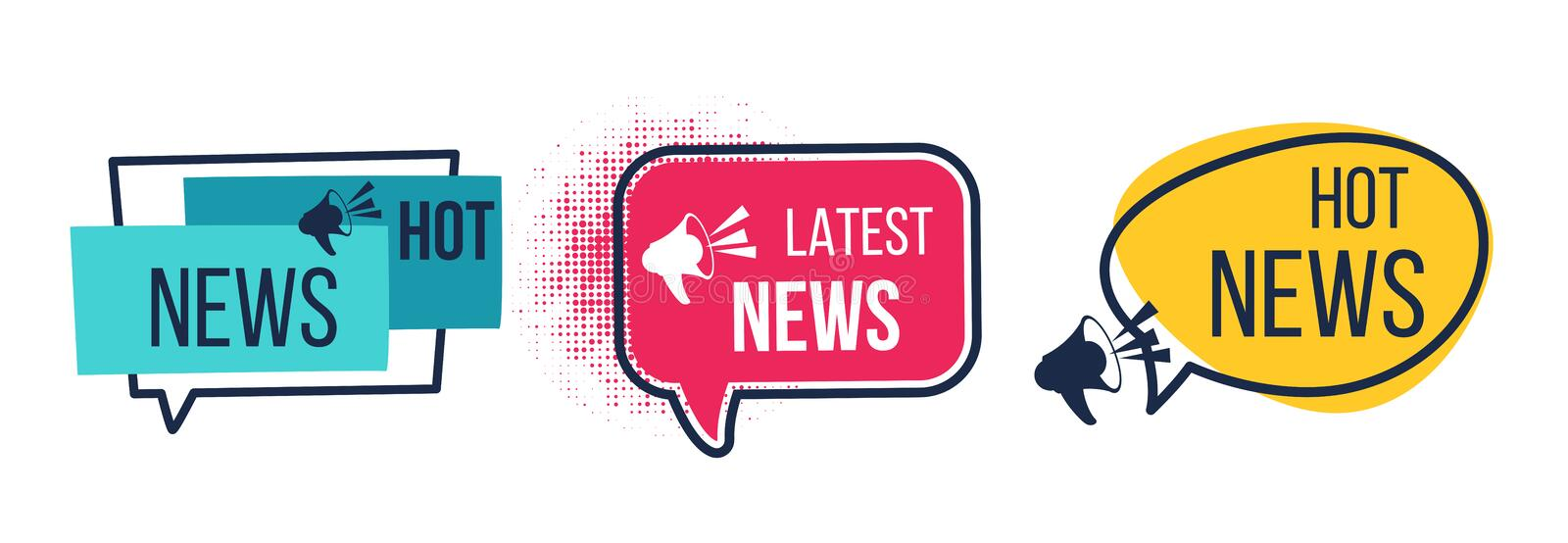 News badges. Daily hot latest and breaking news banners, newspapers and magazines announcement labels. Vector flat. News badges. Daily hot latest and breaking vector illustration
