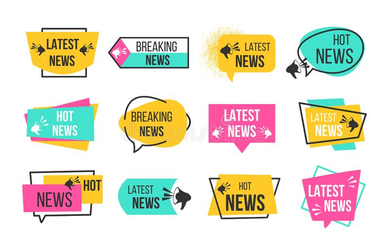News badges. Newspaper and magazine braking latest and hot news stickers. Vector announcement geometric banners. News badges. Newspaper and magazine braking royalty free illustration