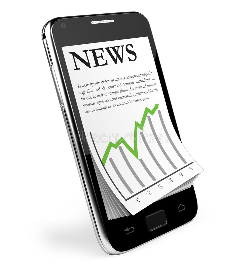 Download The News. Black Smartphone With Open News. Stock Photos - Image: 26889133