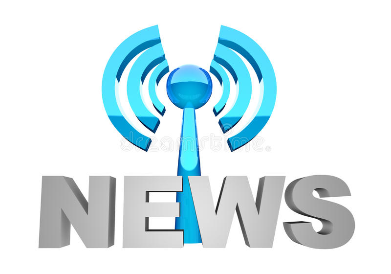 News broadcast. News word and broadcast station or wi-fi vector illustration