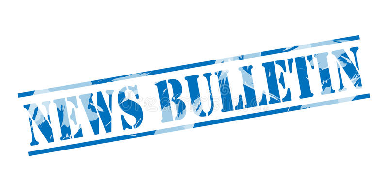 News bulletin blue stamp. Isolated on white background royalty free illustration