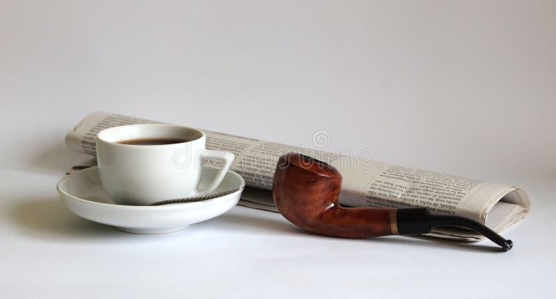 News and coffee stock image