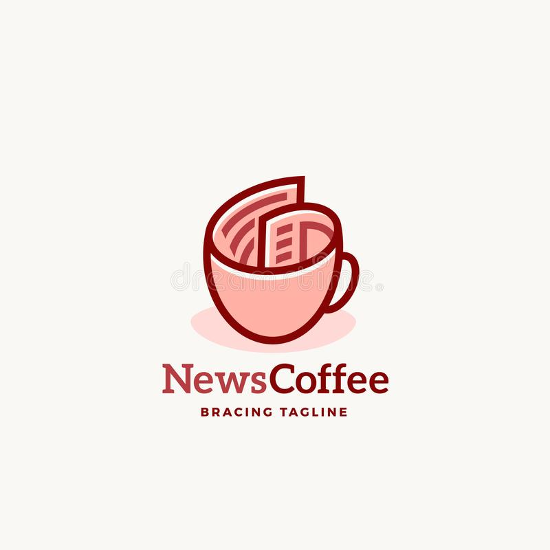 News Coffee Abstract Vector Sign Emblem or Logo Template. Newspaper roll as a Coffee Cup Concept with Modern Typography. Isolated stock illustration