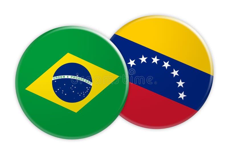 Brazil Flag Button On Venezuela Flag Button, 3d illustration on white background stock illustration