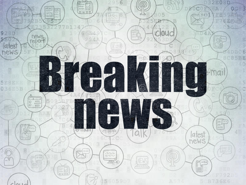 News concept: Breaking News on Digital Paper. News concept: Painted black text Breaking News on Digital Paper background with Scheme Of Hand Drawn News Icons, 3d stock illustration