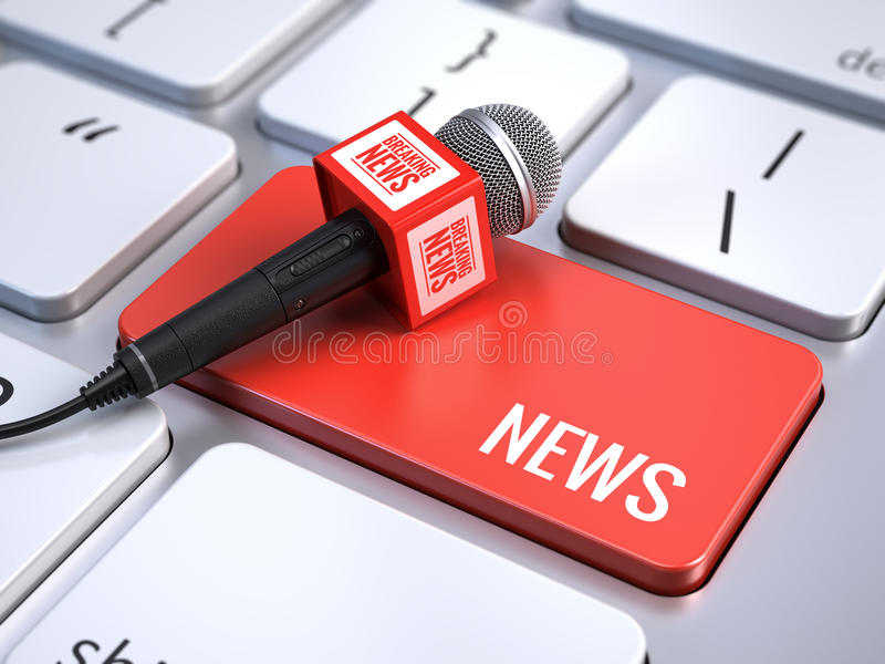 News concept. Computer keyboard with word News and microphone. 3d rendering stock illustration