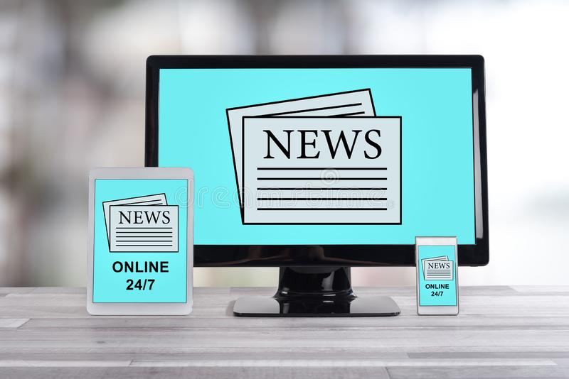 News concept on different devices. News concept shown on different information technology devices royalty free stock images