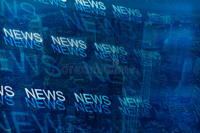 News concept. Digital news pattern on city background. Double exposure vector illustration