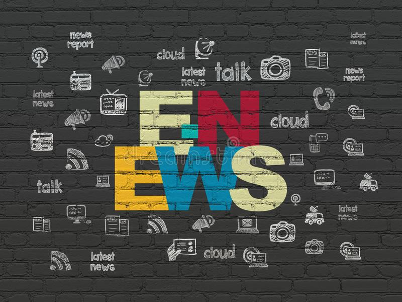 News concept: E-news on wall background royalty free illustration