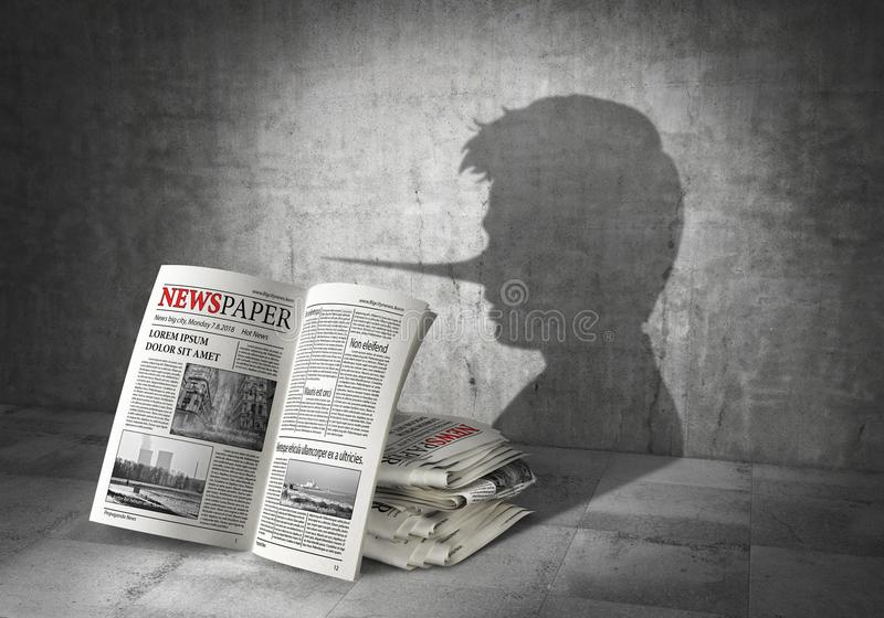 News concept. Fake news. Newspapers cast shadow in form of liar. 3d. Illustration vector illustration