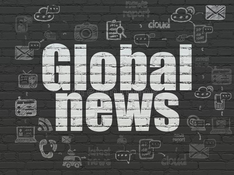 News concept: Global News on wall background. News concept: Painted white text Global News on Black Brick wall background with Scheme Of Hand Drawn News Icons vector illustration