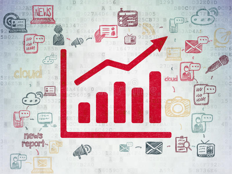 News concept: Growth Graph on Digital Paper. News concept: Painted red Growth Graph icon on Digital Paper background with Scheme Of Hand Drawn News Icons, 3d vector illustration