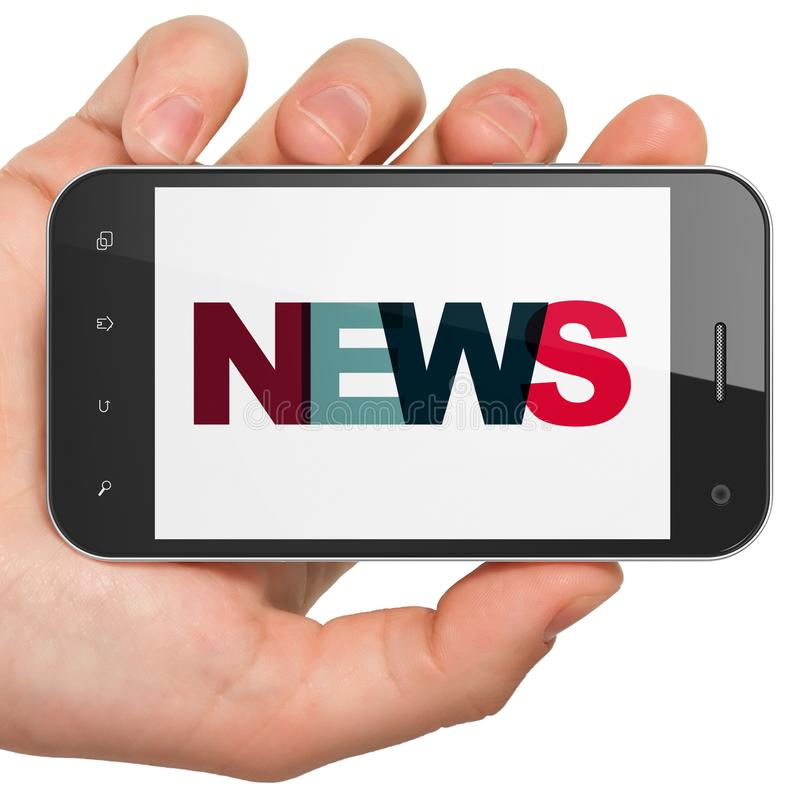 News concept: Hand Holding Smartphone with News on display vector illustration