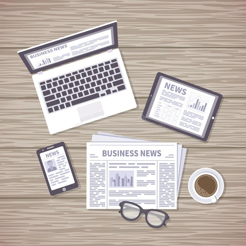 News concept. Daily information from different resources on the screens of devices and in the paper. News on laptop, tablet, phone vector illustration