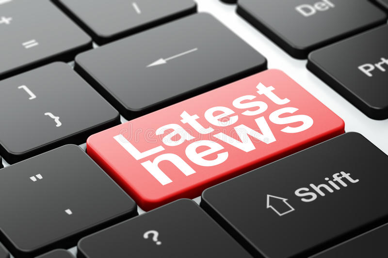 News concept: Latest News on computer keyboard royalty free illustration