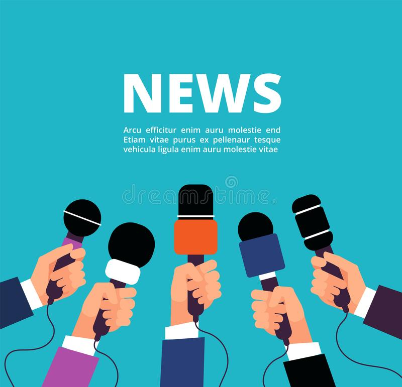 News concept with microphones. Broadcasting, interview and communication vector banner with handa holding microphones vector illustration