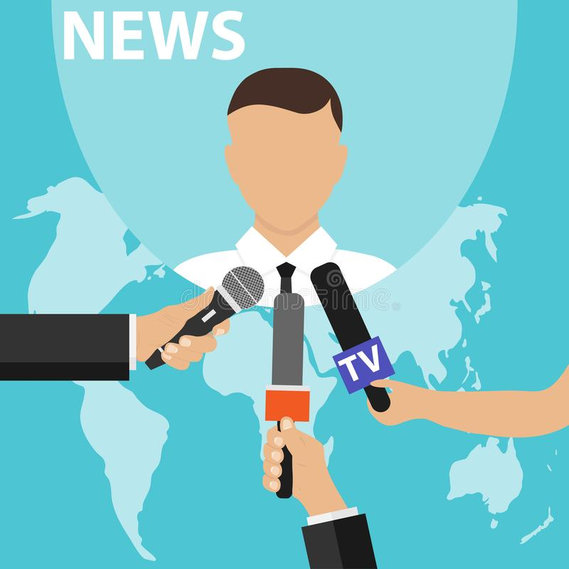 News concept with microphones. Journalists hands holding microphones performing interview. Media tv and interview, information for. Television, broadcasting stock illustration
