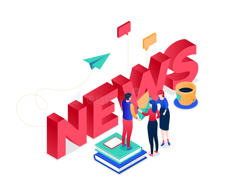 News concept - modern colorful isometric vector illustration royalty free illustration