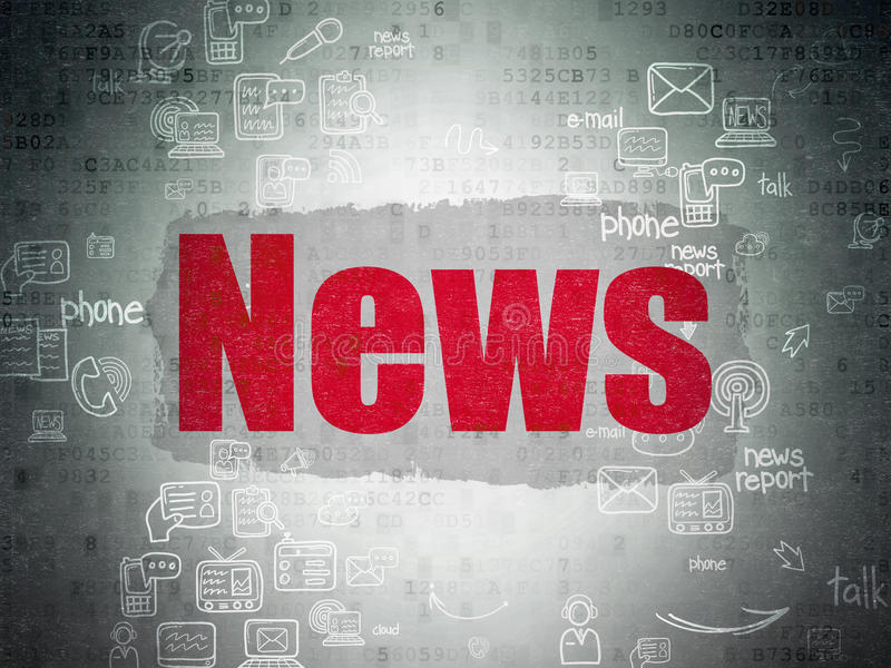 News concept: News on Digital Paper background. News concept: Painted red text News on Digital Paper background with Scheme Of Hand Drawn News Icons, 3d render vector illustration