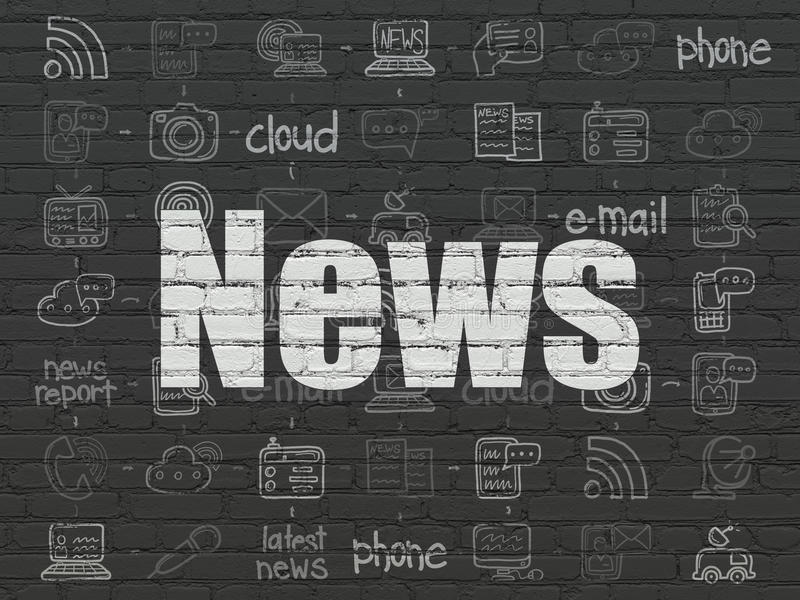News concept: News on wall background. News concept: Painted white text News on Black Brick wall background with Scheme Of Hand Drawn News Icons, 3d render royalty free illustration