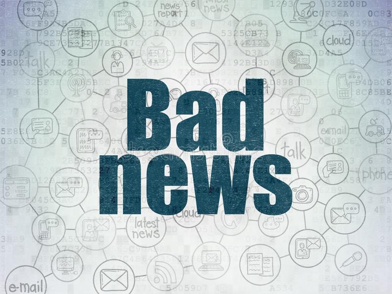 News concept: Bad News on Digital Data Paper background. News concept: Painted blue text Bad News on Digital Data Paper background with Scheme Of Hand Drawn News stock illustration