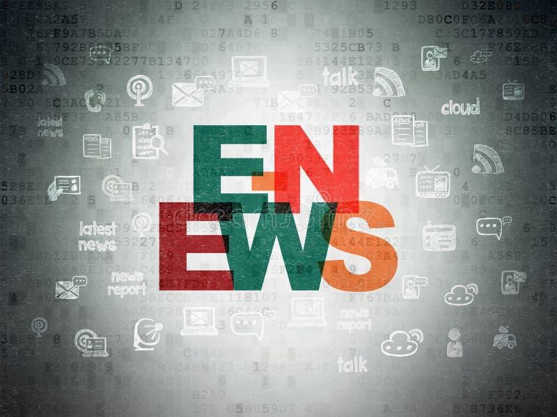 News concept: E-news on Digital Data Paper background vector illustration