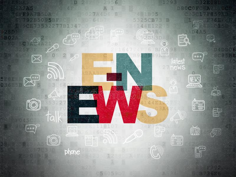 News concept: E-news on Digital Data Paper background stock illustration