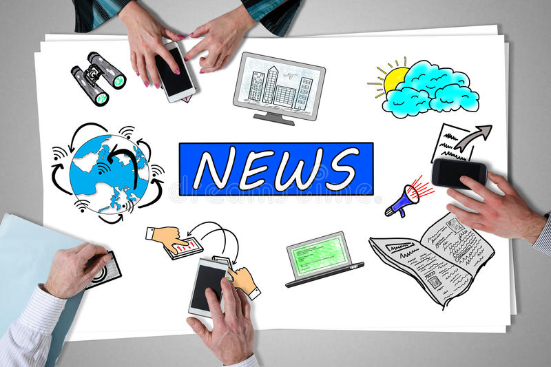 News concept placed on a desk. With hands using smartphones royalty free stock photography