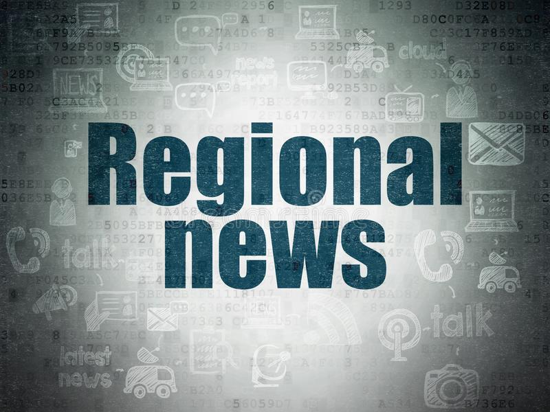 News concept: Regional News on Digital Data Paper background. News concept: Painted blue text Regional News on Digital Data Paper background with Scheme Of Hand royalty free illustration