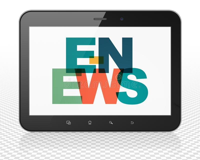 News concept: Tablet Pc Computer with E-news on display stock illustration