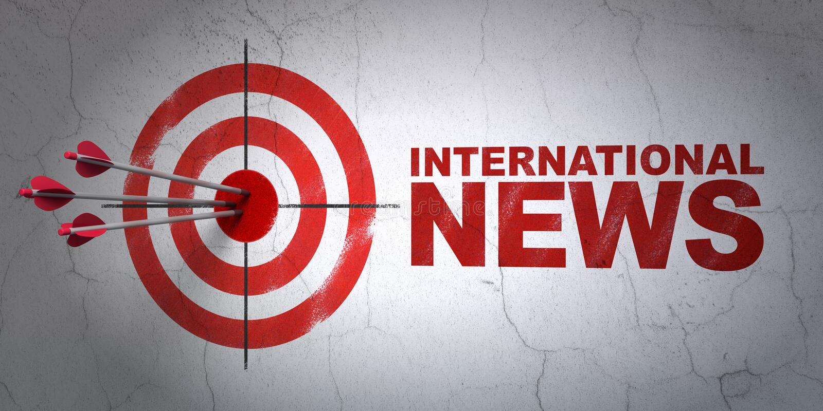 News concept: target and International News on wall background royalty free illustration