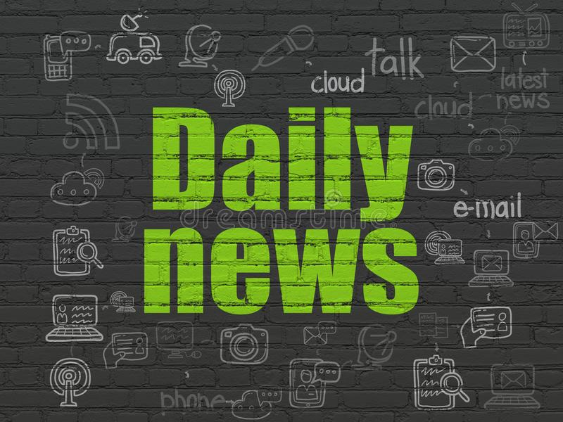 News concept: Daily News on wall background. News concept: Painted green text Daily News on Black Brick wall background with Scheme Of Hand Drawn News Icons royalty free illustration