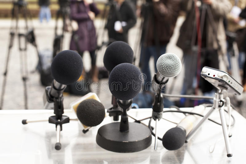 News conference stock photo