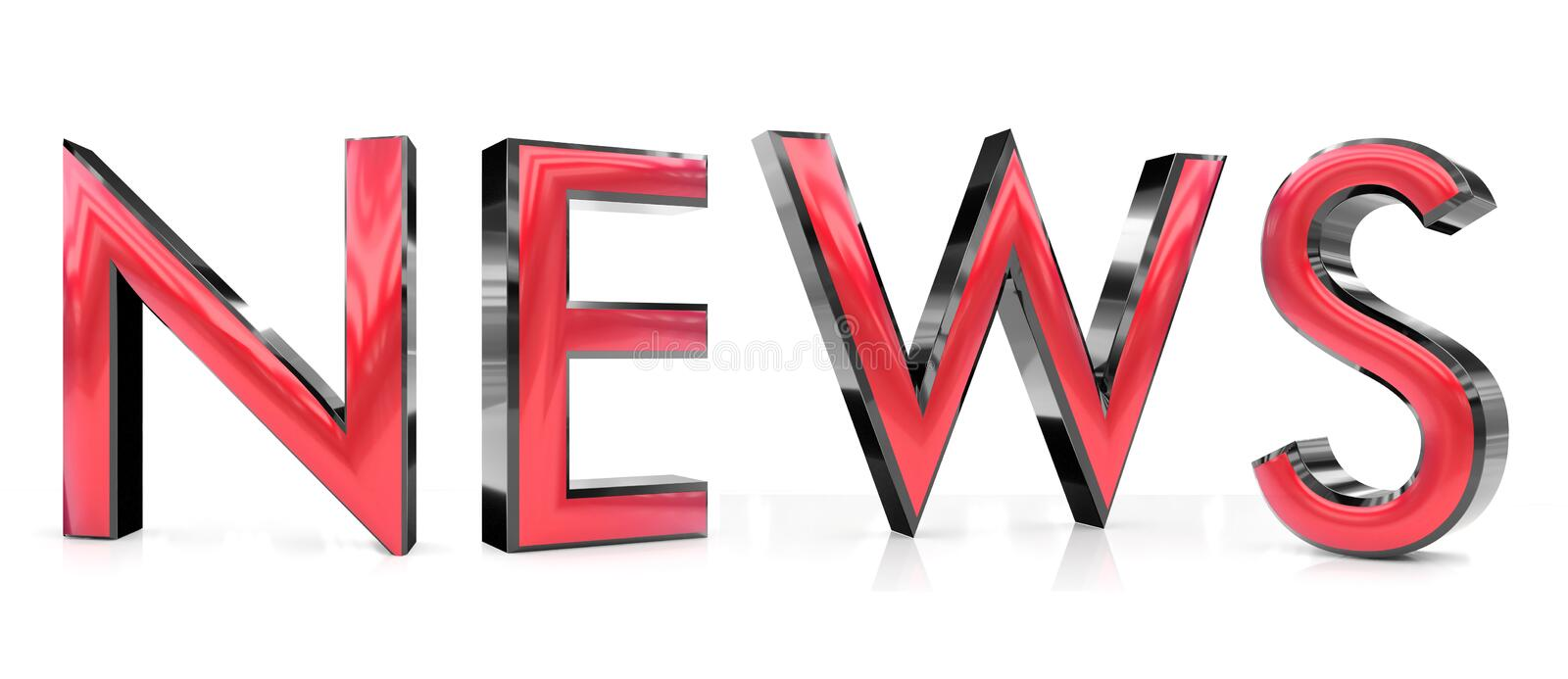 News 3d word. The news word 3d rendered red and gray metallic color , isolated on white background royalty free illustration