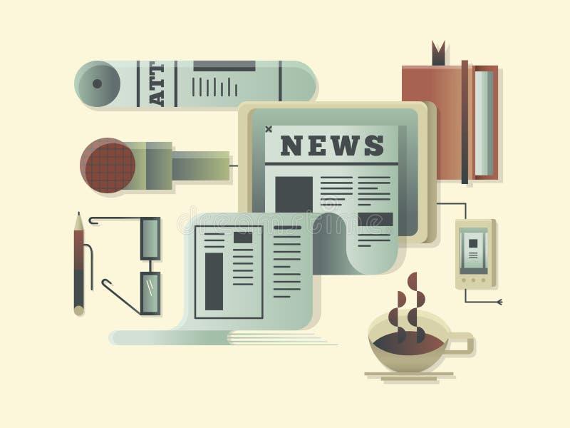News design concept. Newspaper information media, article press daily. Vector illustration stock illustration
