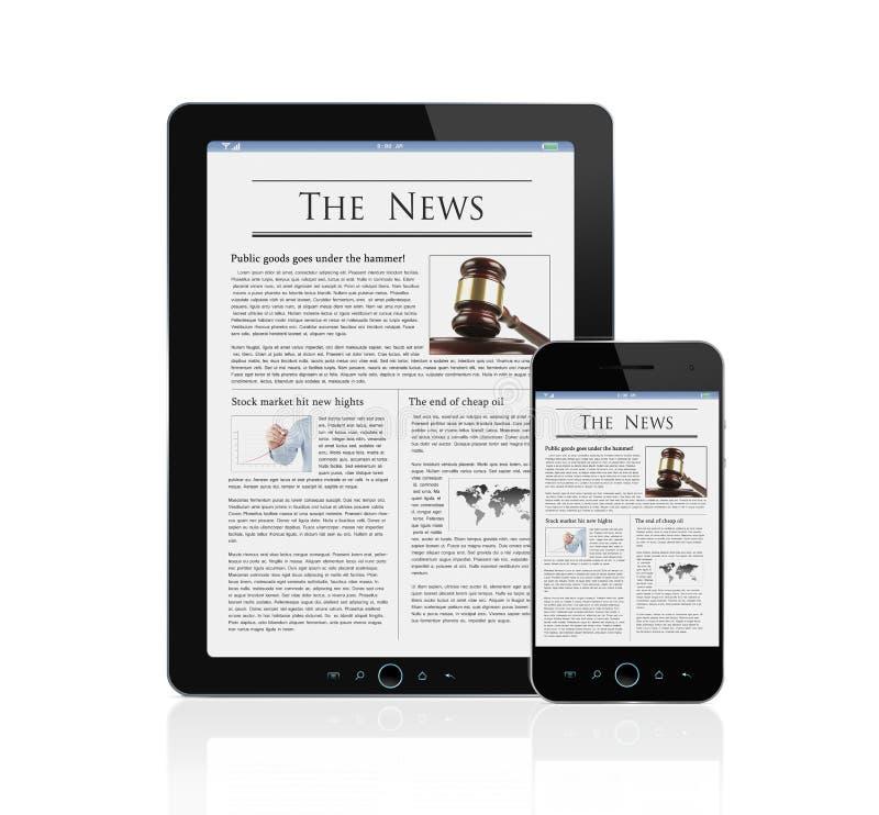 Download News At Digital Tablet And Smart Phone Stock Illustration - Image: 24293213