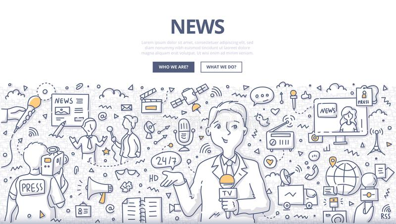 News Doodle Concept. Doodle vector illustration of a reporter broadcasting news. Concept of live news reporting, mass media and journalism for web banners, hero royalty free illustration