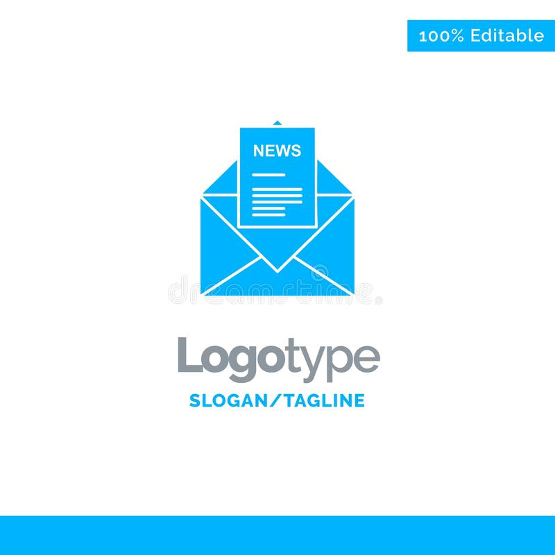 News, Email, Business, Corresponding, Letter Blue Solid Logo Template. Place for Tagline stock illustration