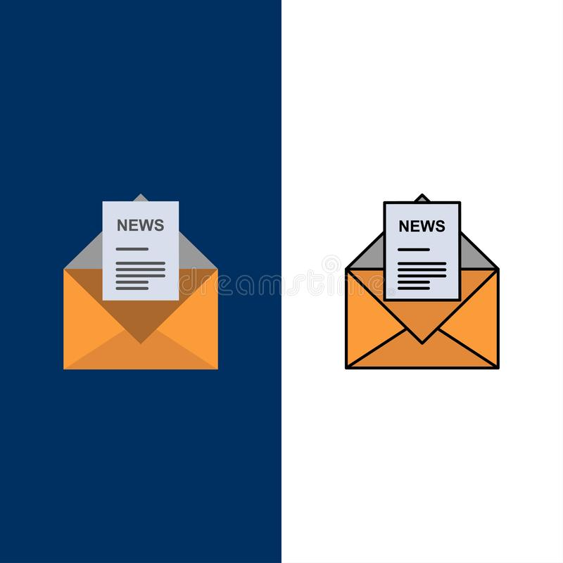 News, Email, Business, Corresponding, Letter  Icons. Flat and Line Filled Icon Set Vector Blue Background stock illustration
