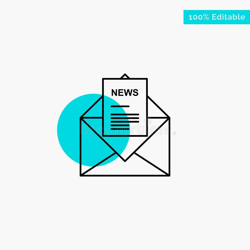 News, Email, Business, Corresponding, Letter turquoise highlight circle point Vector icon vector illustration