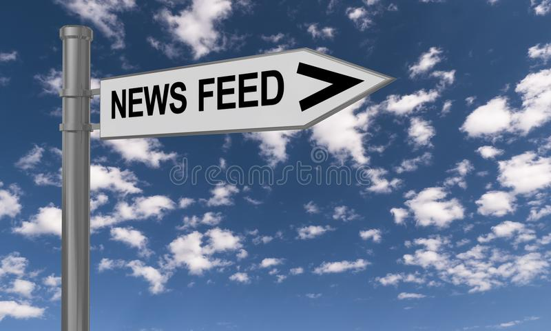 News feed guidepost. And the sky in the background vector illustration