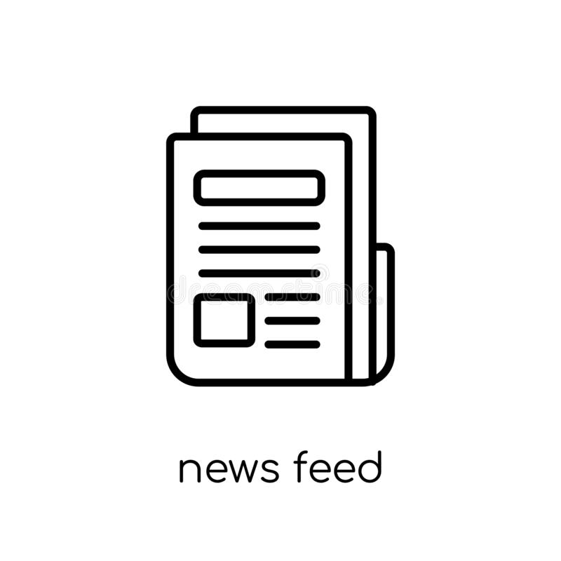 news feed icon. Trendy modern flat linear vector news feed icon royalty free illustration