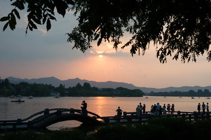 NEWS ** Hangzhou is baking in 41 degrees Celcius - People life. Hangzhou is experiencing an unusually hot spell, daytime temperatures reaching 41 degrees royalty free stock photography