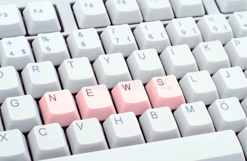 News headline. Written in computer keyboard stock photos