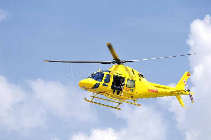 News helicopter stock photo