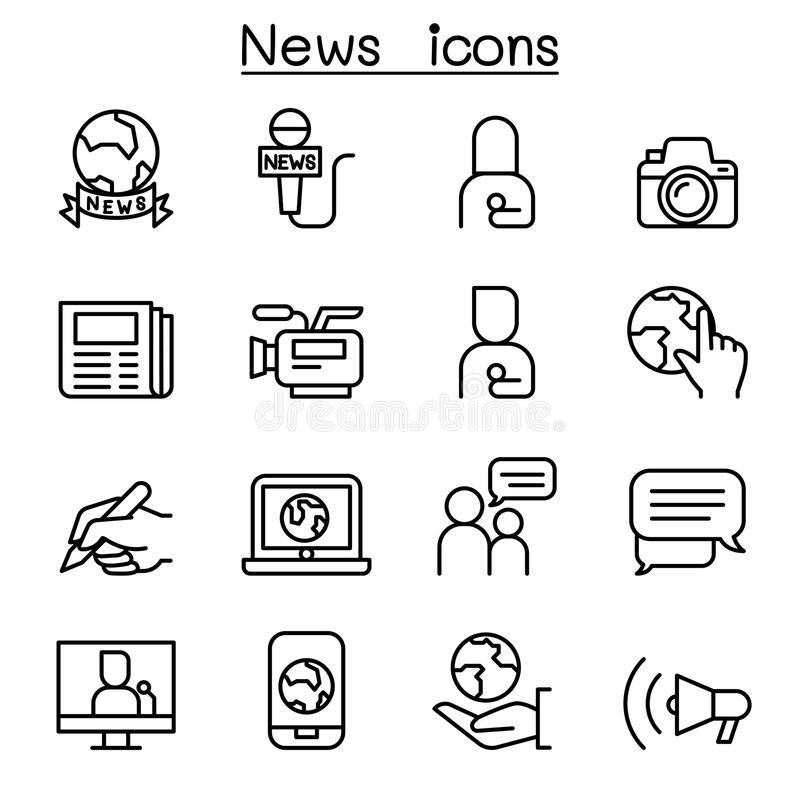 News icon set in thin line style. Vector illustration graphic design stock illustration