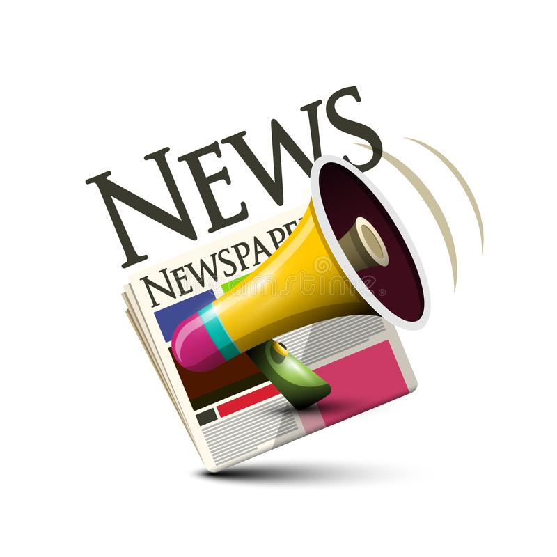 News Icon. Vector Symbol with Newspapers. And Megaphone royalty free illustration